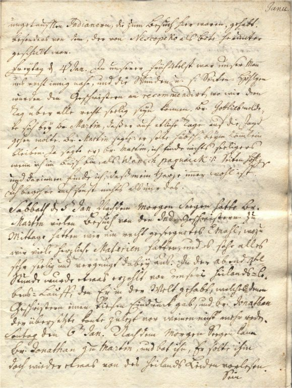 Gnadenhutten Diary 117.2 Jan. 4, 1751, MAB