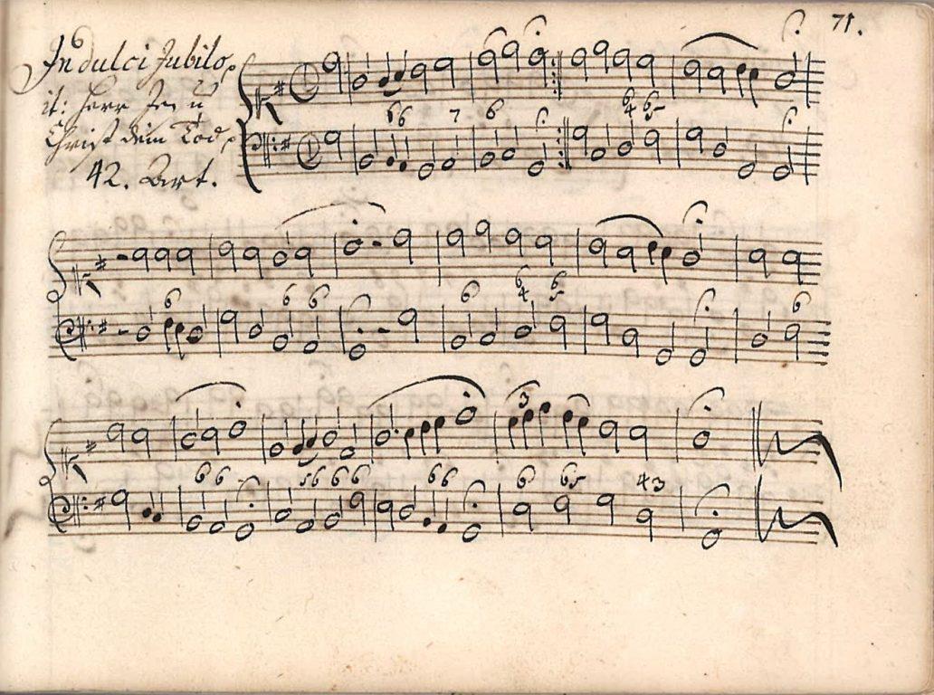 """Chorale tune """"Herr Jesu Christ, dein Tod/In dulci jubilo."""" H.4, p. 71, Archiv der Brüder-Unität [Unity Archives], Herrnhut. Reproduction courtesy of the Archiv der Brüder-Unität."""