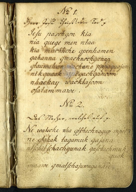 """Verse zum Gebrauch bey den Indianern in Scattigok"" [Verses for the use of the Indians in Scattigok (Connecticut)], Records of the Moravian Mission among the Indians of North American (MissInd) 331.2, Moravian Archives, Bethlehem, Pa. Reproduction courtesy of the Moravian Archives."